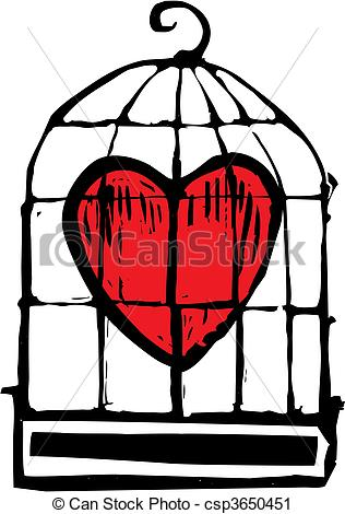 316x470 Heart In Cage. Heart In A Birdcage Being Held Captive. Vector Clip