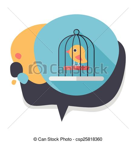 450x470 Pet Bird Cage Flat Icon With Long Shadow, Eps10 Clip Art Vector