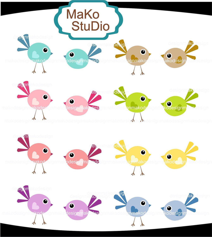 1342x1500 Cute Bird Clip Art , Colourful Doodle Birds, Digital Clip Art, Png