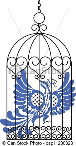 244x470 Bird In Cage. Blue Bird In Antique Cage Vector Illustration