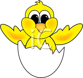 350x329 Cartoon Clip Art Of A Yellow Bird Hatching Out Of It's Shell