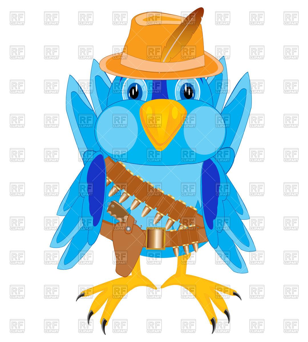 1080x1200 Cartoon Bird In Cowpuncher Clothes Royalty Free Vector Clip Art