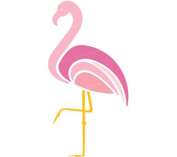 570x504 Pink Flamingo Clipart Tropical Birds Instant Download Art
