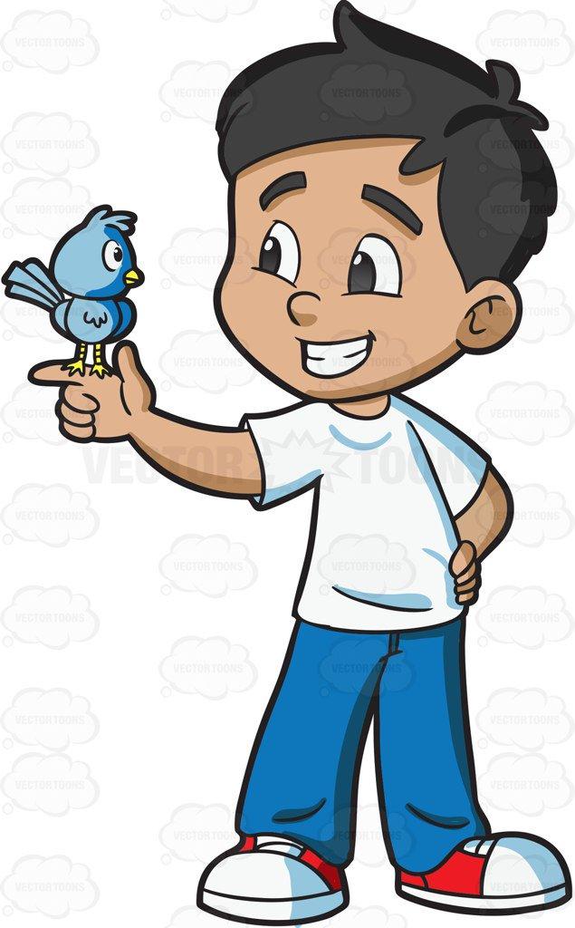 635x1024 A Boy Looking At His Pet Bird Cartoon Clipart Vector Toons