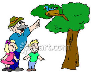 300x236 A Father Pointing To His Children A Nest Of Birds Up On A Tree