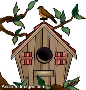 288x300 Clip Art Of A Decorated Birdhouse In A Tree