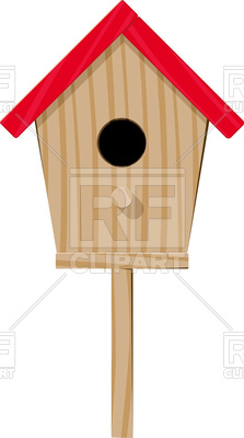 223x400 Wooden Birdhouse With A Red Roof View From The Entrance Side