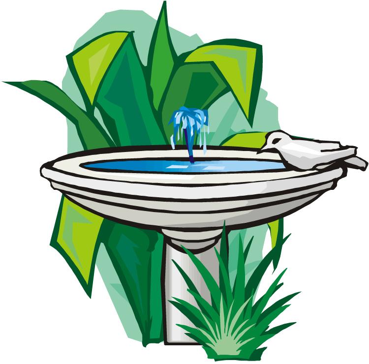 750x740 Bird Bath In Garden Clipart