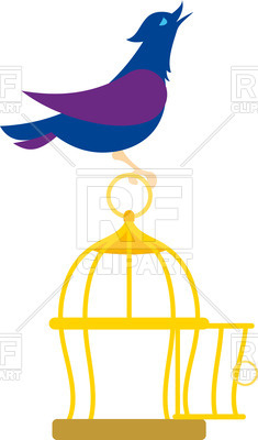 235x400 Blue Bird Sits On Cage Royalty Free Vector Clip Art Image