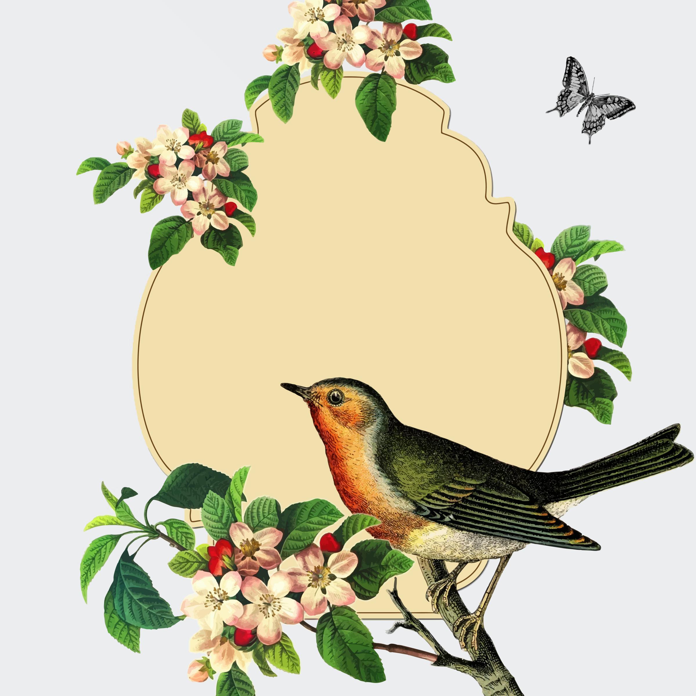 2399x2399 Clip Art Vintage Bird Clip Art