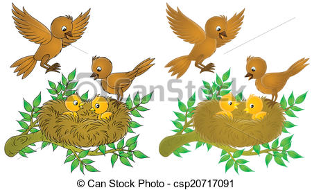 450x274 Birds And Nestlings. Isolated Clip Art Of Brown Birds And Yellow