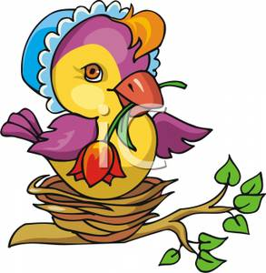 293x300 A Mother Bird With A Red Rose In Her Beak, Wearing A Blue Bonnet