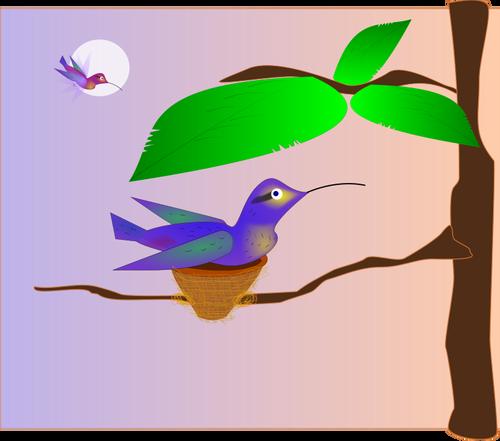 500x441 Clip Art Of Blue Bird In A Nest On A Tree Public Domain Vectors