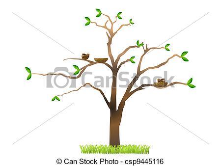 450x338 Tree With Birds Nests. Tree With Birds Nesting Stock Illustration