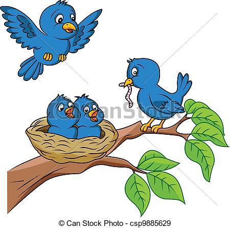 450x445 Vector Illustration Of Bird Family Eps Vectors
