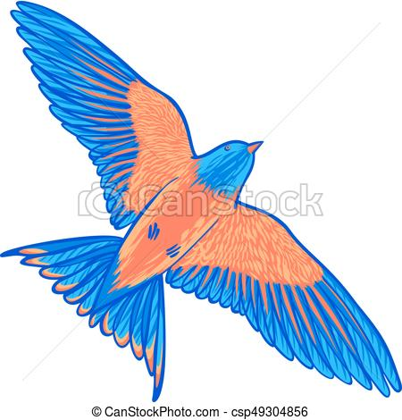 450x470 Blue Tropical Bird On A White Background. Bird Of Paradise