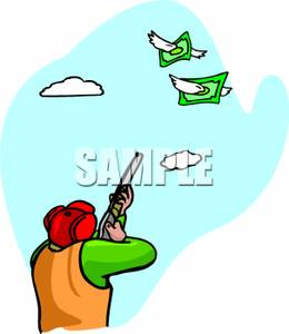 260x300 Royalty Free Clipart Image A Hunter Shooting At Two Bills With Wings