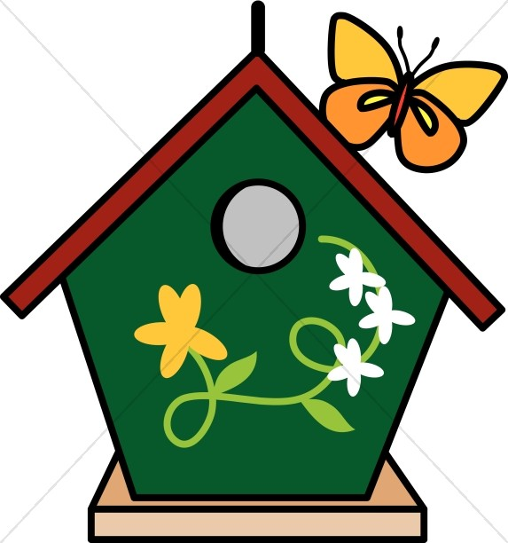 573x612 Birdhouse And Butterfly Nature Clipart