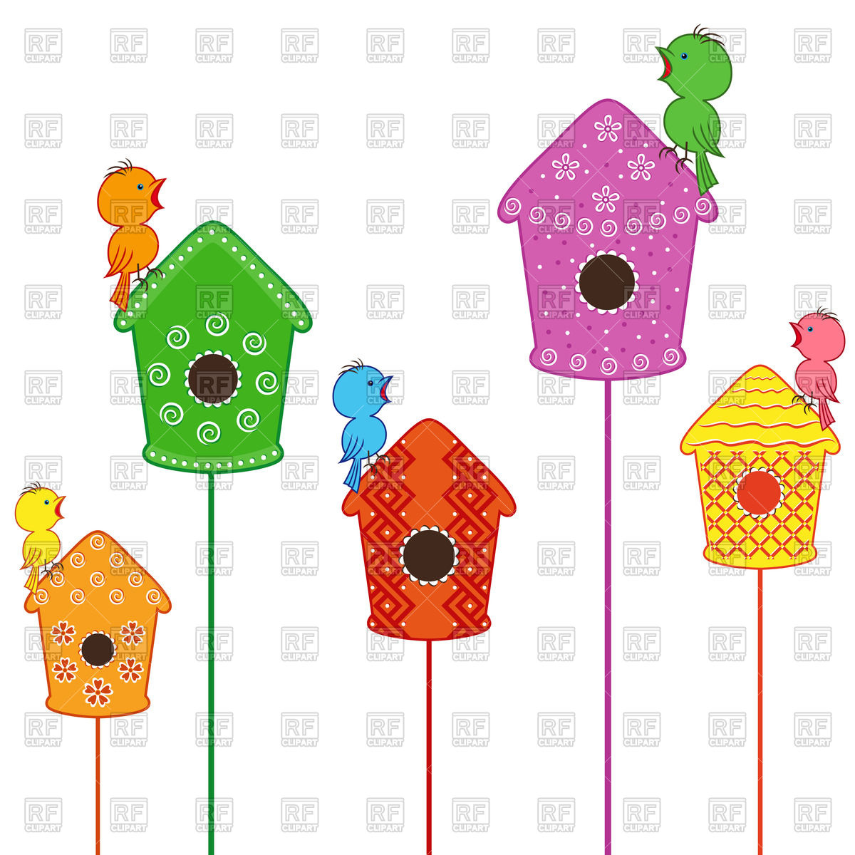 1200x1200 Birdhouse With Bird Silhouette Hole Royalty Free Vector Clip Art