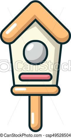 241x470 Wooden Birdhouse Icon, Cartoon Style. Wooden Birdhouse Icon