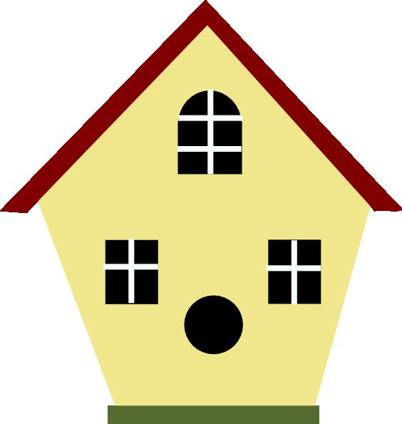 564x595 Yellow Bird House Clip Art