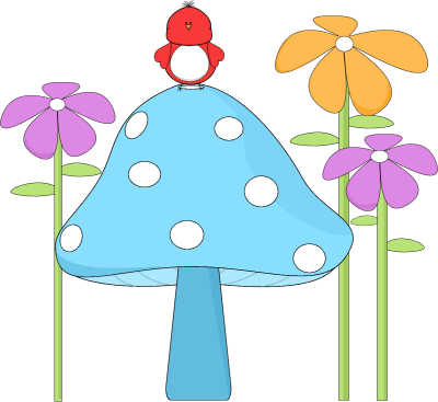 400x367 Birdhouse Art Mushroom With A Bird And Flowers Clip Art Image
