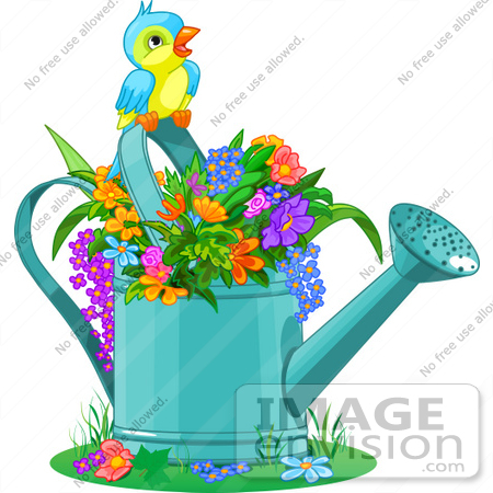 450x450 Cliprtillustration Of Cute Bird Perched Over Flowers In