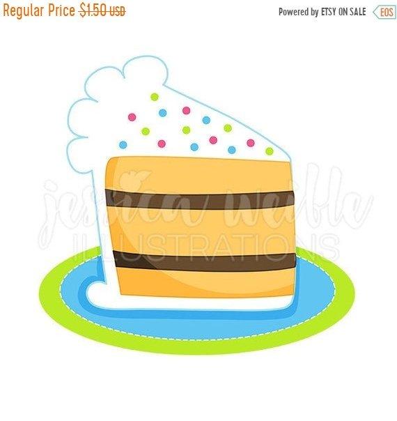 570x604 ON SALE Slice of Birthday Cake Cute Digital Clipart, Cake Clip art