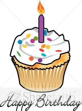 288x388 Birthday Cupcake With Candle Birthday Clipart, Art Birthday