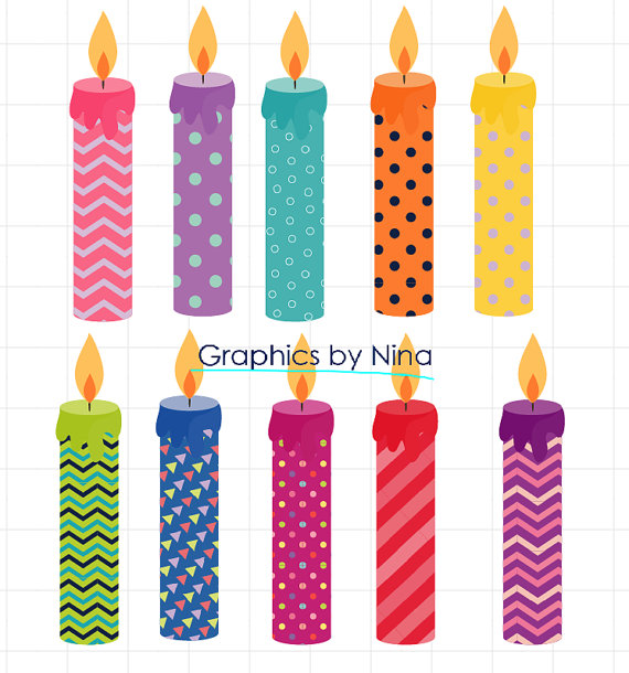 570x610 Instant Dowload Birthday Candles Clipart Birthday Clipart