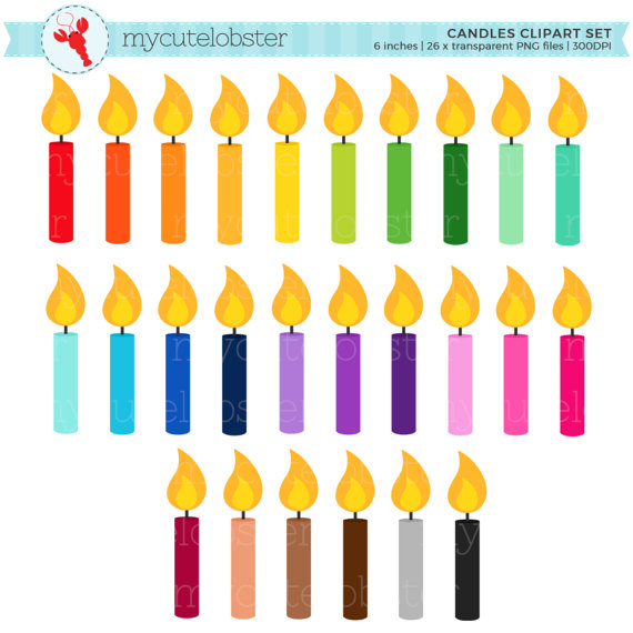 570x570 Rainbow Candles Clipart Set
