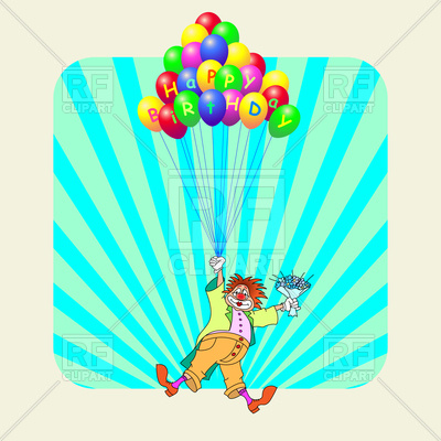 400x400 Birthday Greeting Card With Clown Flying On Balloons Royalty Free