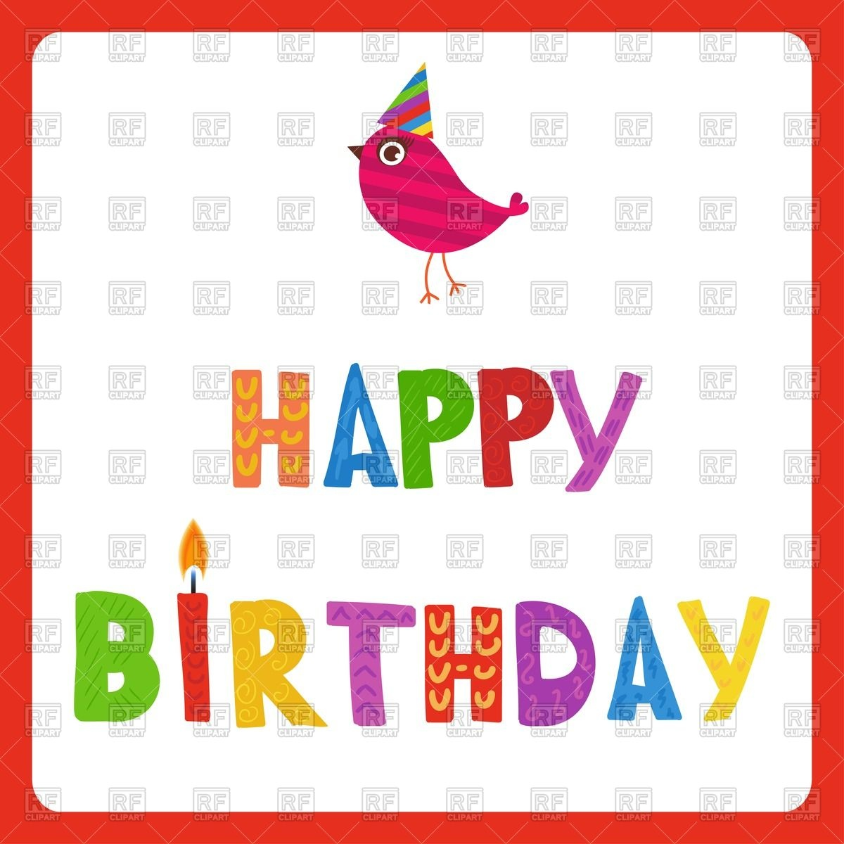 1200x1200 Happy Birthday Greeting Card And Cute Bird In Holiday Hat In Red