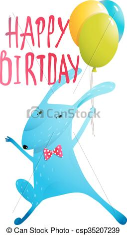 255x470 Rabbit Greeting Happy Birthday Card For Children. Rabbit