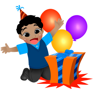 340x309 Birthday Boy With Gift And Balloons Clip Art