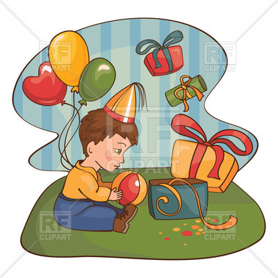 400x400 Small Boy Opens Birthday Gifts Royalty Free Vector Clip Art Image
