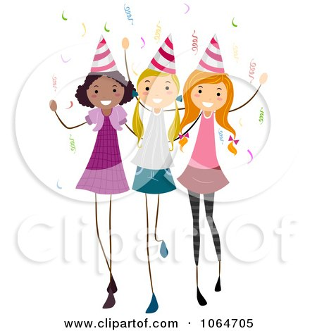 450x470 Clipart Three Birthday Party Girls
