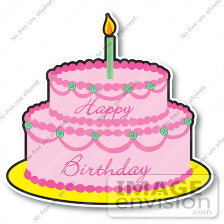450x450 Clipart Of A Pink Girl's Birthday Cake With Two Layers And One