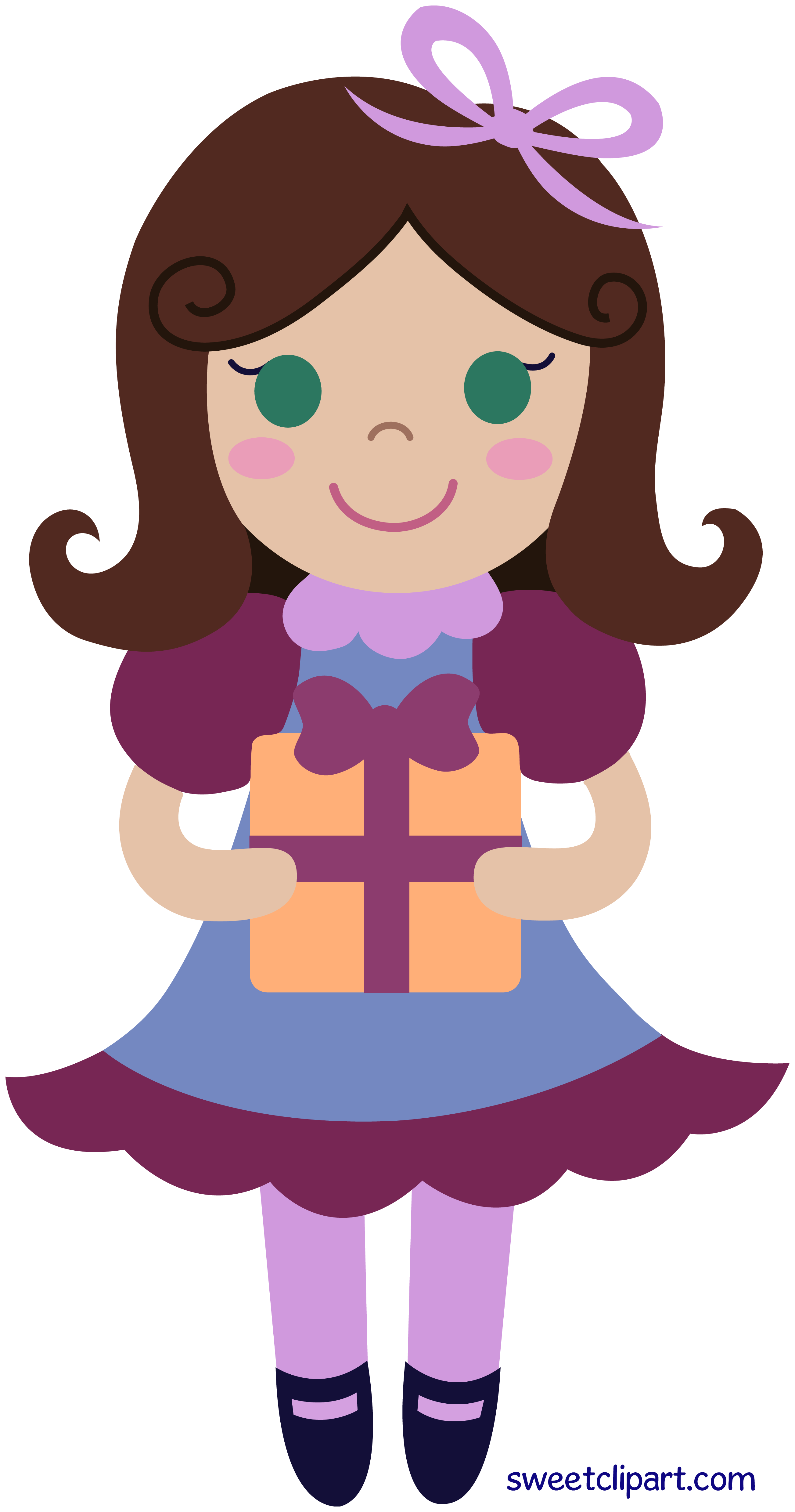 2606x4954 Birthday Girl With Gift Clip Art