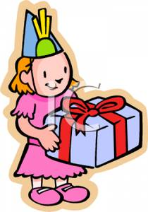 210x300 Clip Art Image A Young Girl Holding A Birthday Present