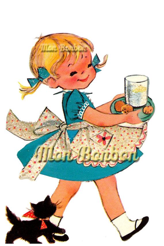 570x855 Cute Retro Happy Birthday Little Girl Illustration Png