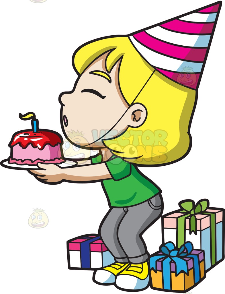 785x1024 A Happy Birthday Girl Making A Wish Cartoon Clipart Vector Toons