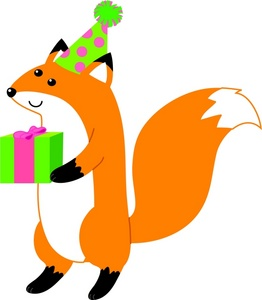 262x300 Fox Clipart Image A Wearing Party Hat And Holding T