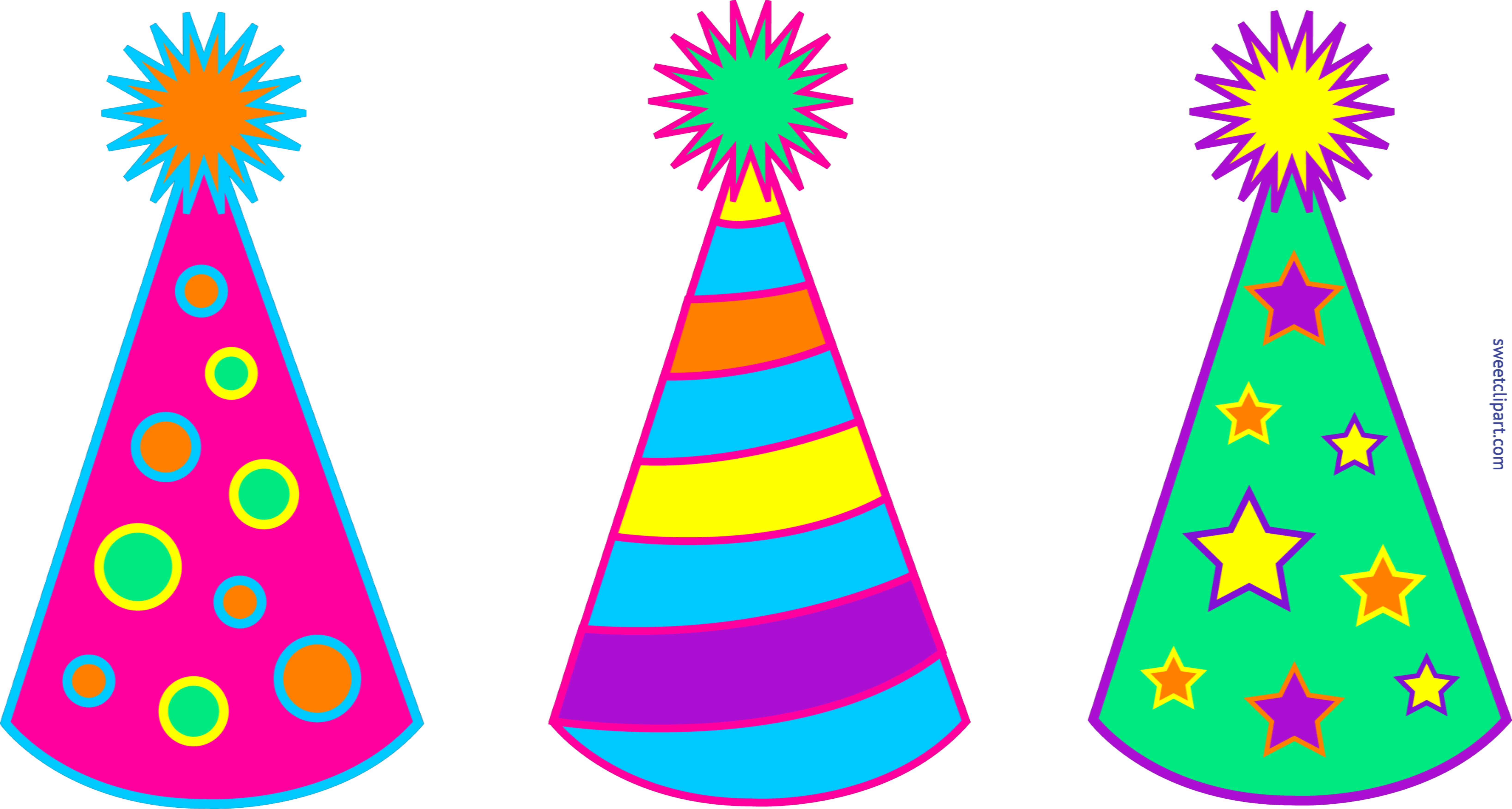 6547x3502 Birthday Party Hats Set 1 Clip Art