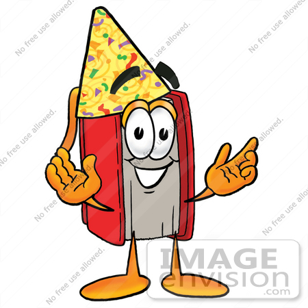 450x450 Clip Art Graphic Of A Book Cartoon Character Wearing A Birthday