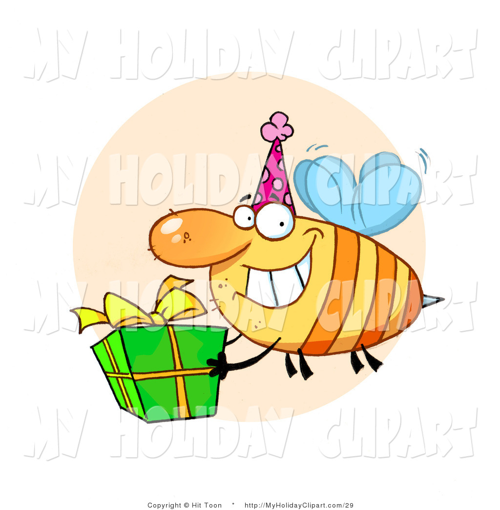 1024x1044 Clip Art Of A Grinning Honey Bee With A Stinger, Wearing A Pink