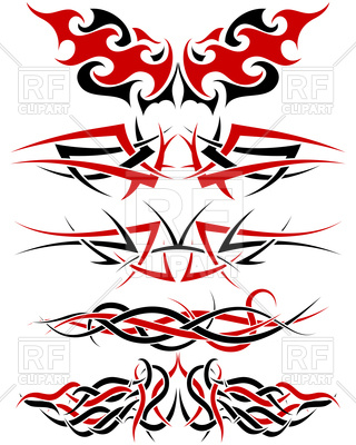 320x400 Black, White And Red Patterns Of Tribal Tattoo Royalty Free Vector