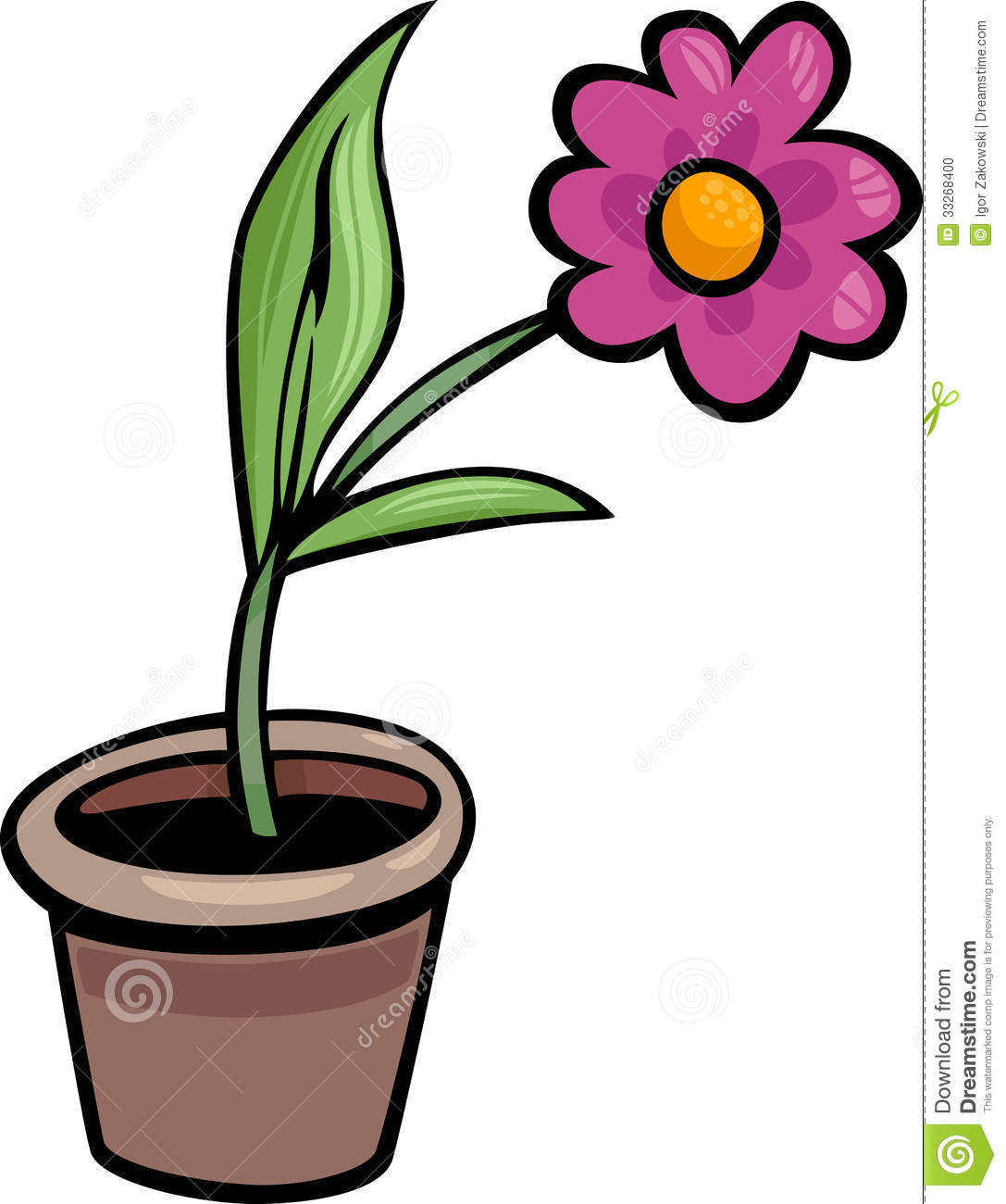 1087x1300 Limited Flower Cartoon Pictures Clip Art In Pot Illustration Stock