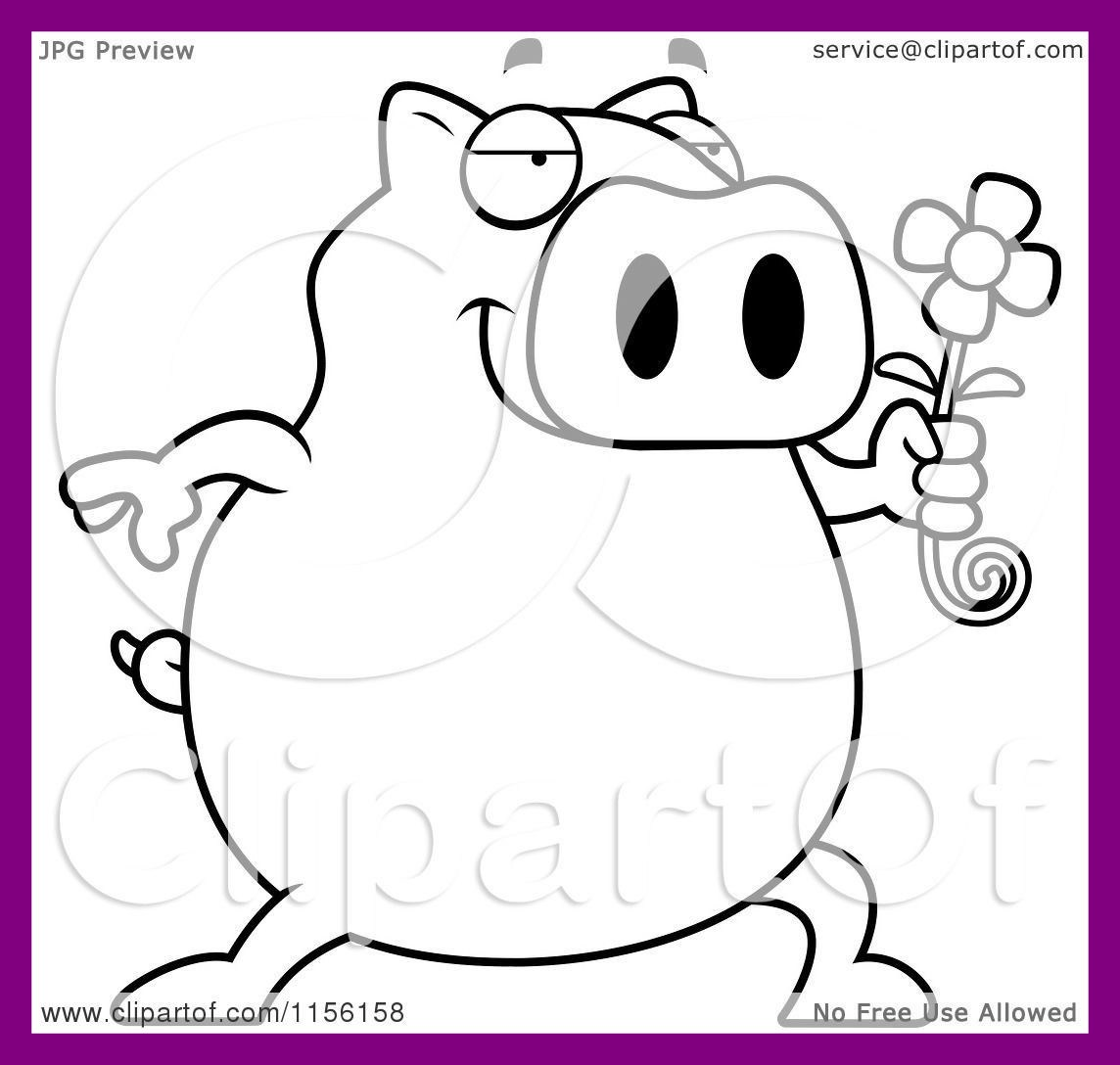 1144x1088 Appealing Cartoon Clipart Of A Black And White Pig Holding Daisy