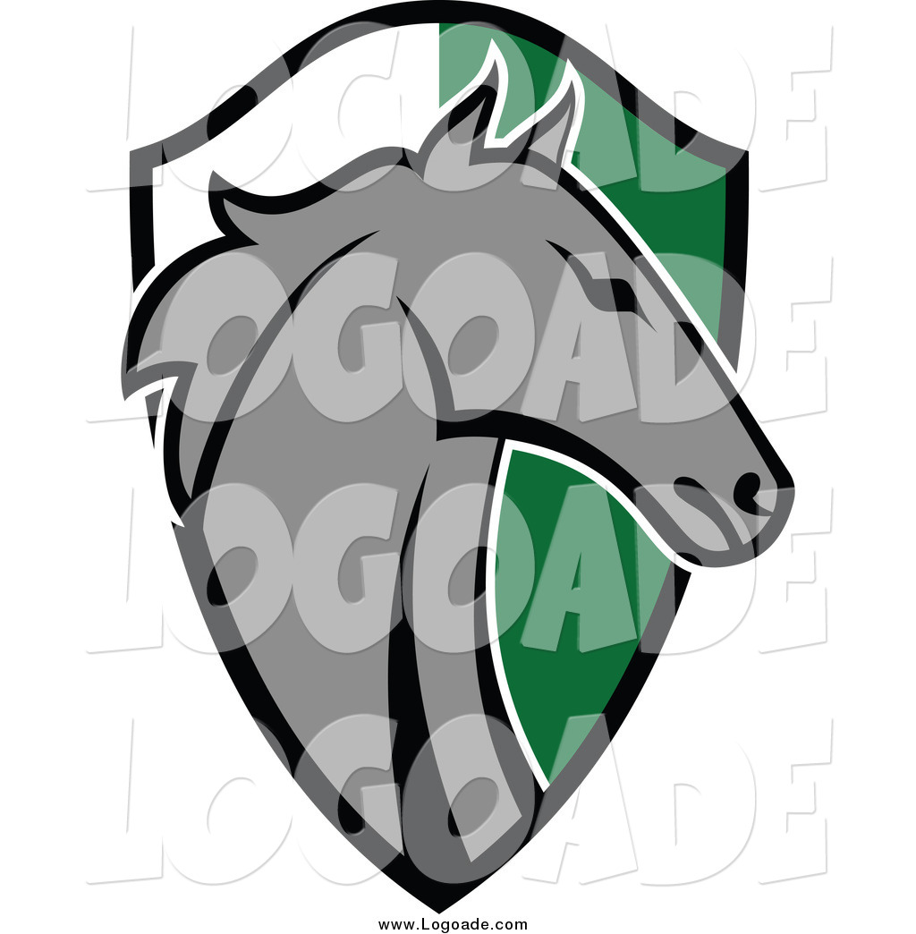 1024x1044 Clipart Of A Gray Horse Head Over A Green And White Shield Logo By
